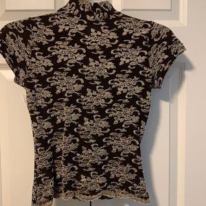 Women's Short Sleeved Mock Turtleneck Top